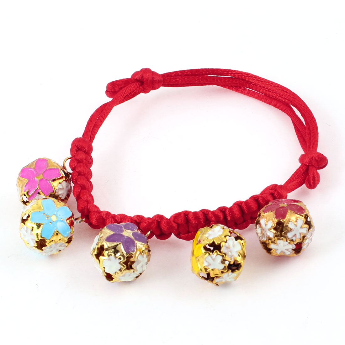 Flower Pattern Bell 0.9cm Width Red Braided Strap Pet Dog Neck Collar