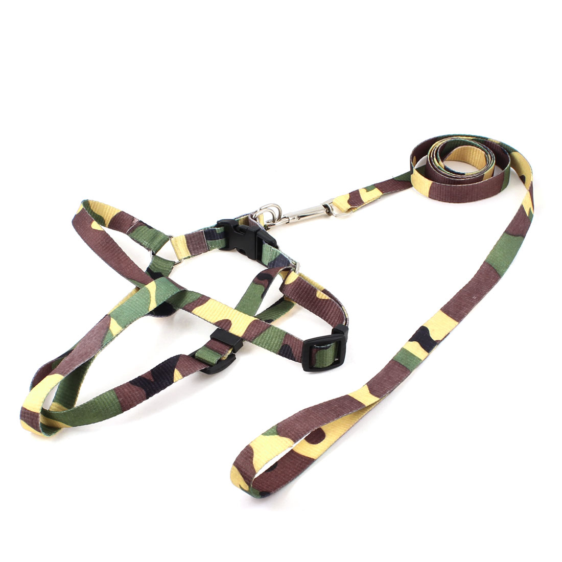 Brown Yellow Green Puppy Pet Rope Lead Adjustable Dog Harness Leash Collar M