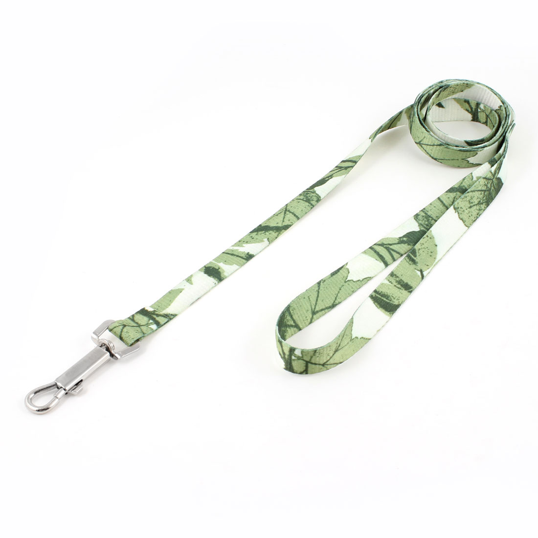Green White Leave Print Puppy Rope Lead Adjustable Dog Harness Leash Collar