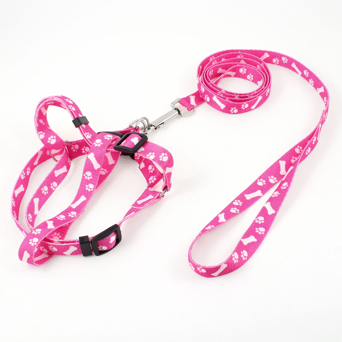 "Pink White Doggie Rope Adjustable Dog Harness Halter Leash Set 59"" Long M"