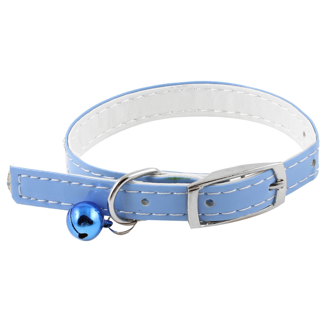 Faux Leather Adjustable Metal Jingle Bell Rhinestone Detail Dog Pet Collar Blue