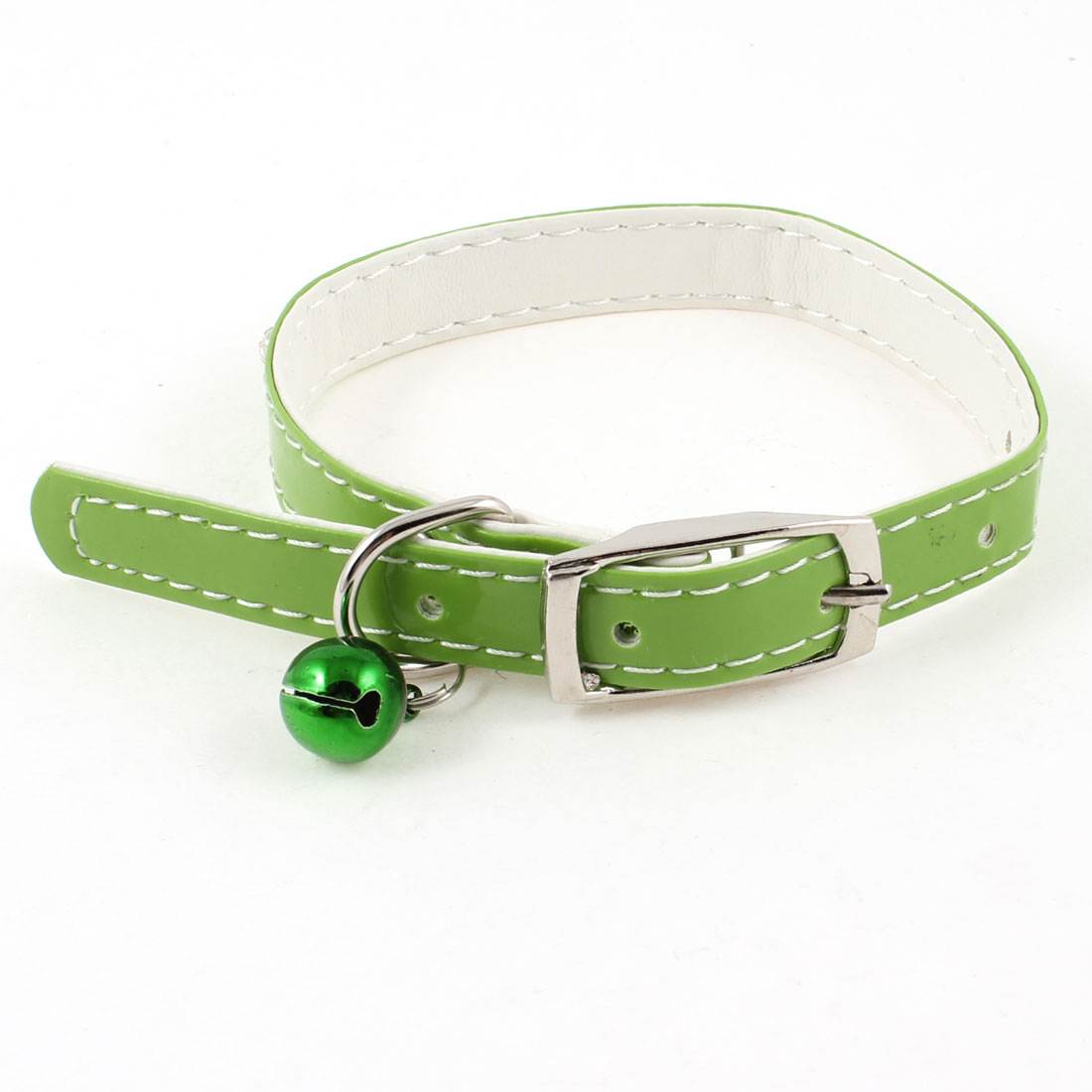 """0.51"""" Wide Jingle Bell Rhinestone Accent Adjustable Pet Dog Puppy Collar Green"""