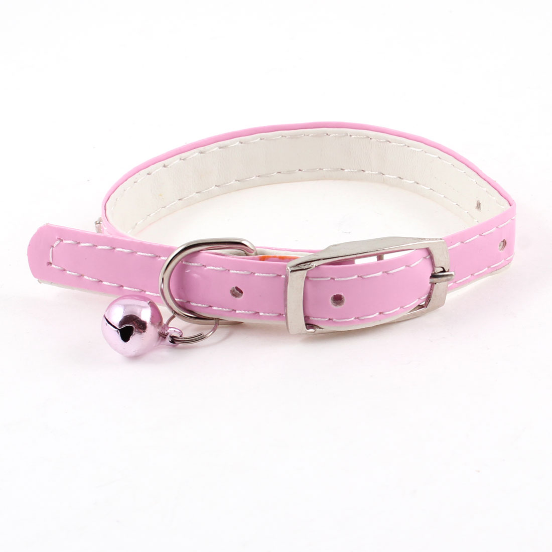 One Pin Buckle Rhinestone Decor Belt Jingle Bell Cat Dog Pets Neck Collar Pink