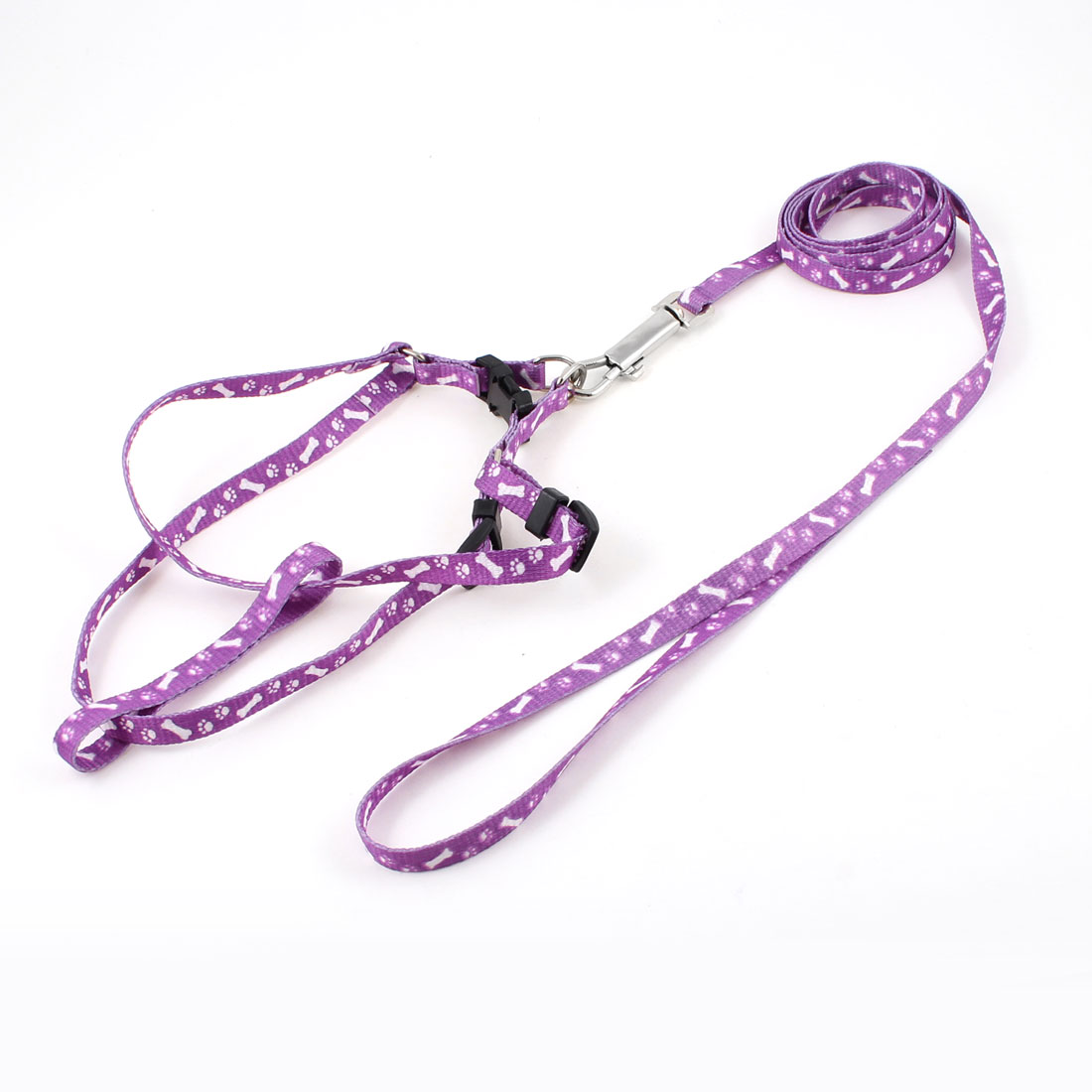 1.18M Lead Bone Print Doggie Dog Collar Halter Harness Leash Purple White