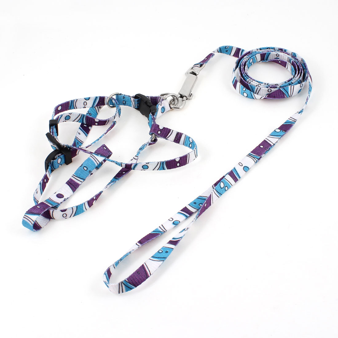 Purple White Blue Puppy Pet Rope Lead Adjustable Dog Harness Leash Collar