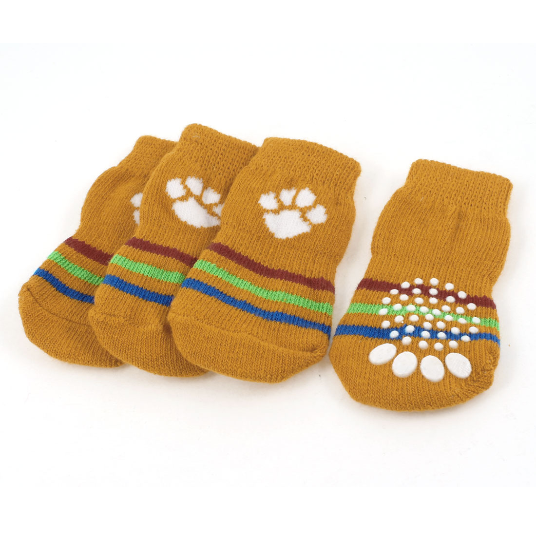 2 Pairs Stripes Print Ribbed Hem Knitted Winter Socks Orange for Doggie