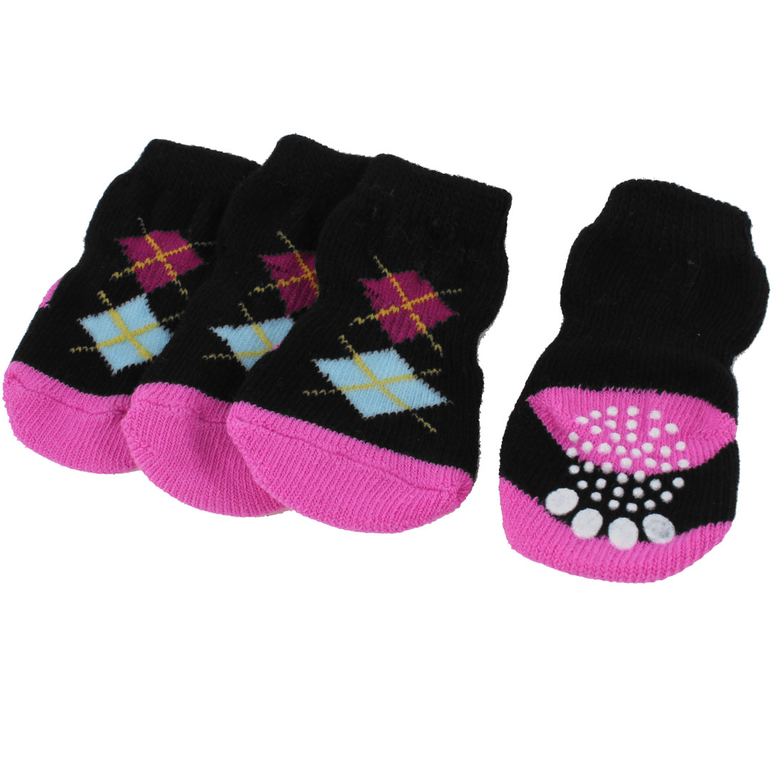 2 Pairs Rhombus Print Ribbed Hem Knitted Winter Socks Black Pink for Doggie