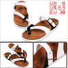 Unisex Toe Loop Casual Black White Sandals US 6