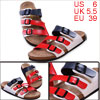 Mens Summer Faux Leather Upper Red Navy Blue White Sandals US 6