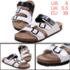 Men Faux Leather Upper Black White Leisure Sandals US 6