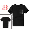 Mens Stylish Black Faux Leather Splice Chest Pocket Slim Top Tee Shirt M