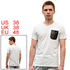 Men NEW White Short Sleeve Design Slim One Pocket Casual T-shirt M