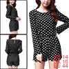 Lady Black Round Neck Long Sleeve Polka Dot Prints Hip Pockets Romper L