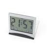 Silver Tone Black Plastic LED Alarm Thermometer Digital Clock