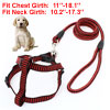 "0.39"" Width Check Patten Adjustable Harness Leash Black Red for Pet Dog"