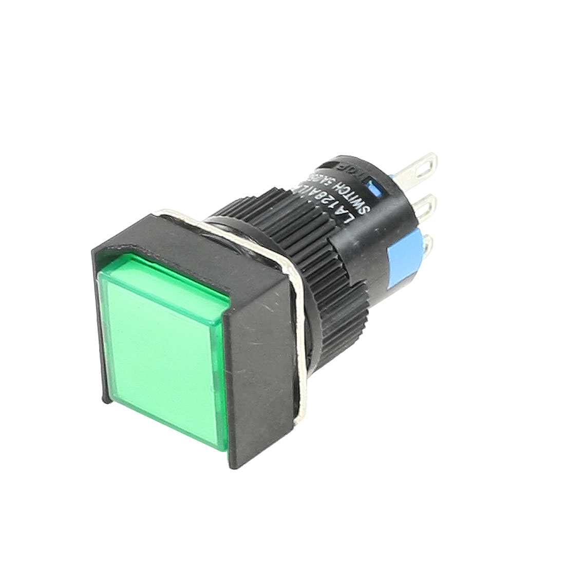 AC 250V 5A SPDT 1NO 1NC 3 Pins Momentary Green Square Push Button Switch