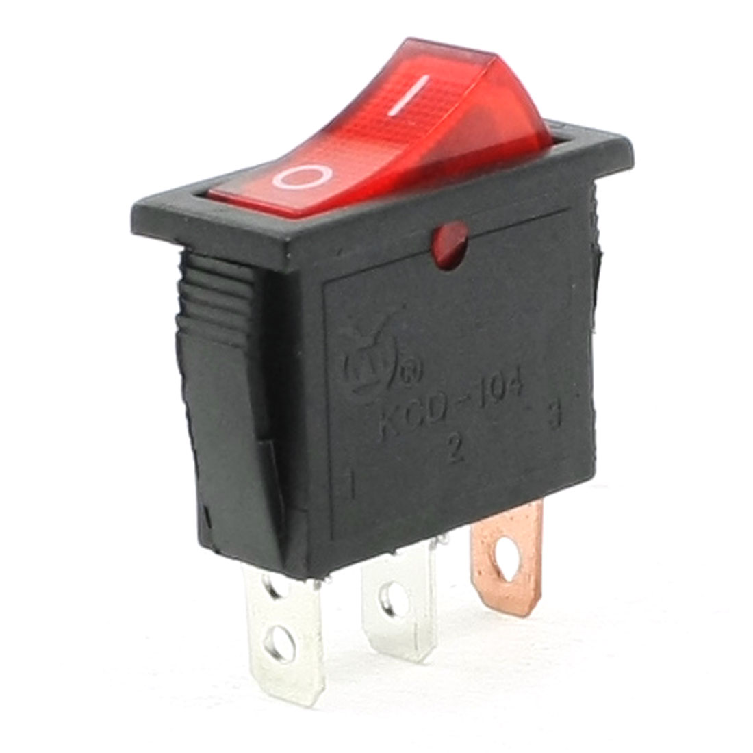 AC 250V/15A 125V/20A 3 Pins SPST I/O Red Light Snap in Boat Rocker Switch