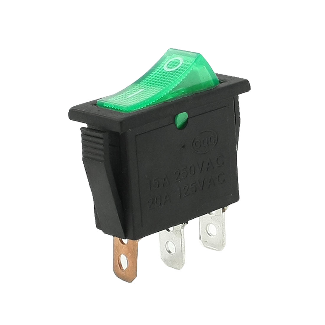 AC 250V/15A 125V/20A 3 Pins SPST I/O Green Light Snap in Boat Rocker Switch