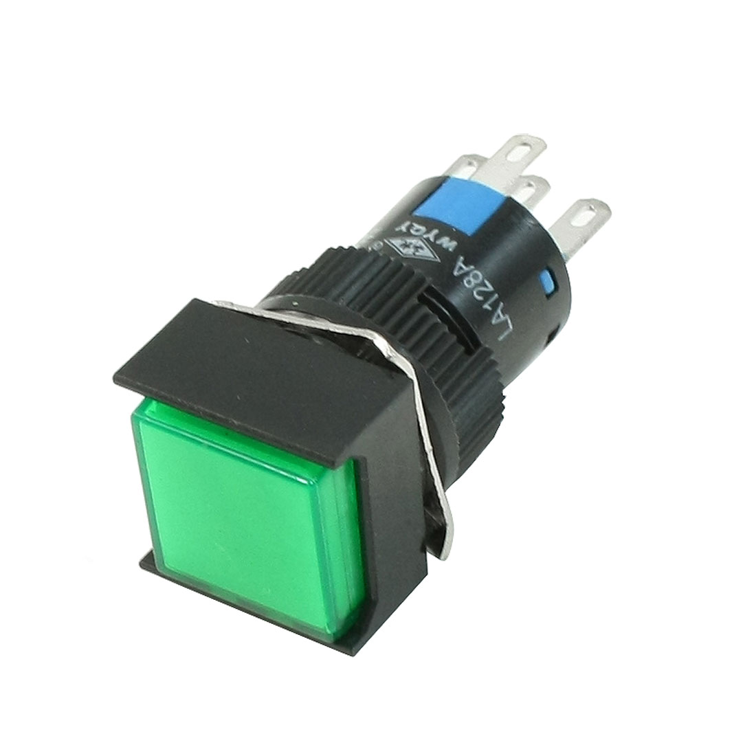 250VAC 5A SPDT 5 Pins Momentary Green Square Push Button Switch w 220V LED Light