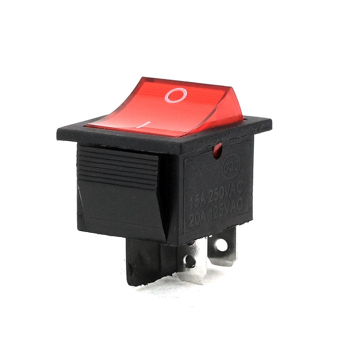 AC 250V/15A 125V/20A 4 Pins DPDT I/O Red Light Snap in Boat Rocker Switch