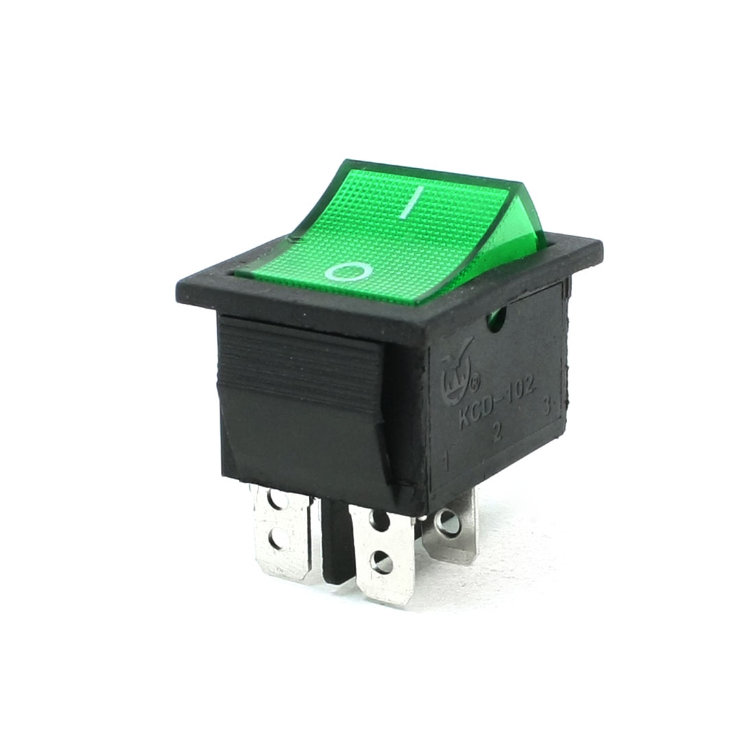 AC 220V 5A 4 Pins DPDT I/O Green Light Snap in Boat Rocker Switch
