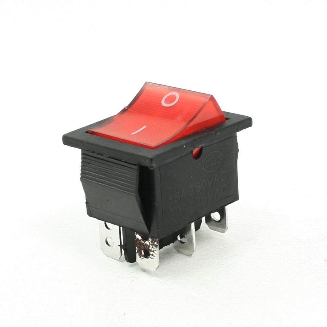 AC 250V/15A 125V/20A 6 Pins DPDT I/O Red Light Snap in Boat Rocker Switch