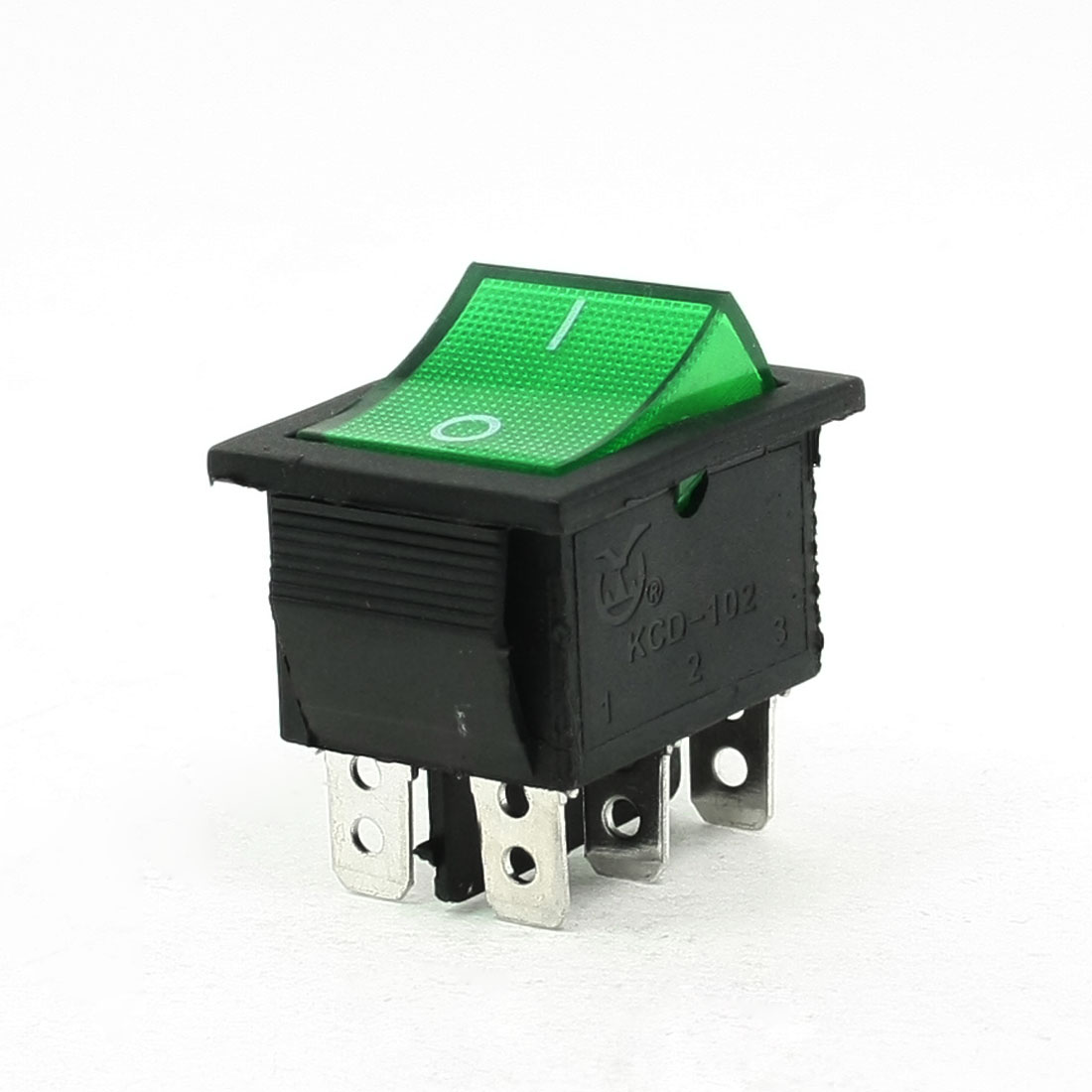 AC 220V 5A 6 Pins DPDT I/O Green Light Snap in Boat Rocker Switch