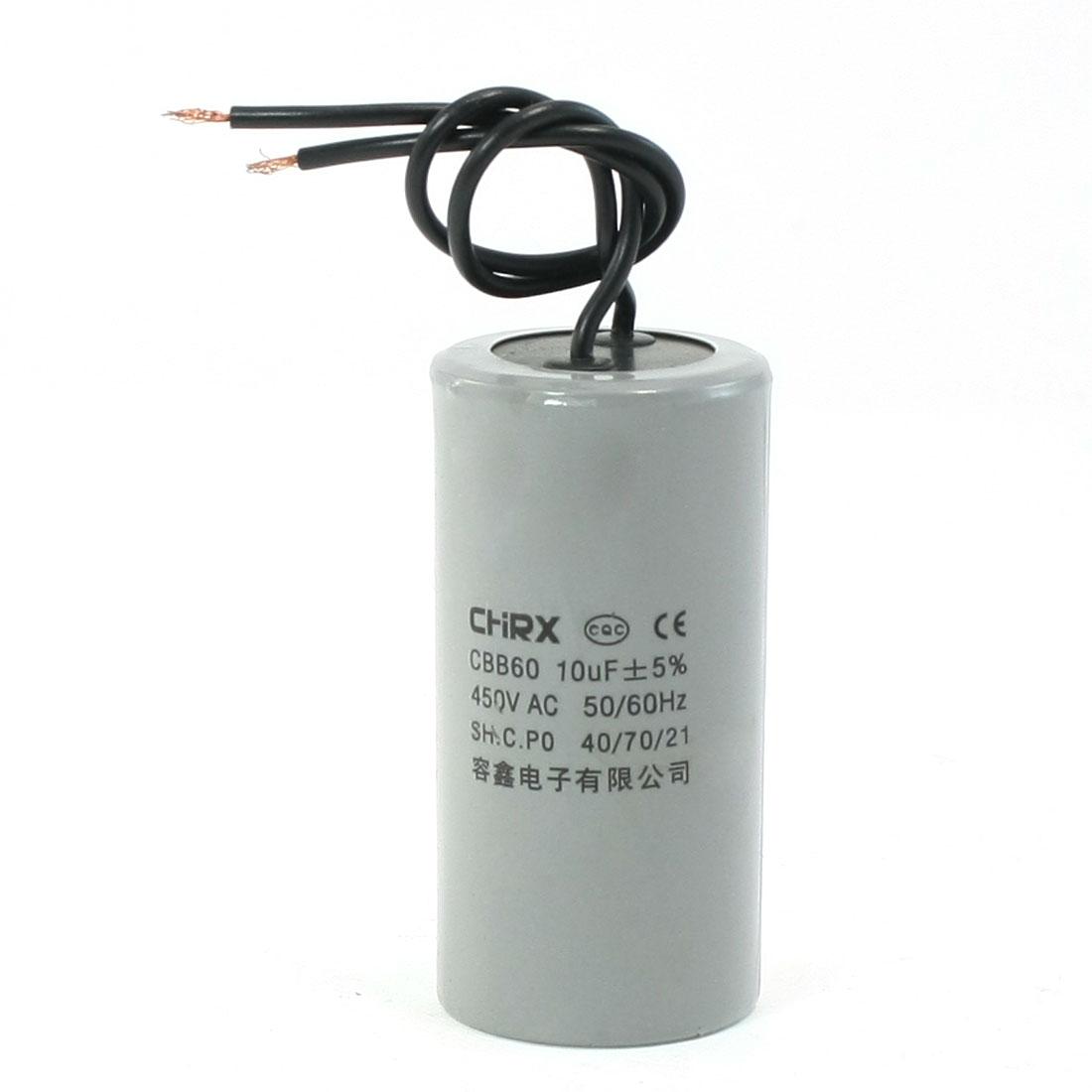 CBB60 AC 450V 10uF Polypropylene Film Motor Running Capacitor Gray