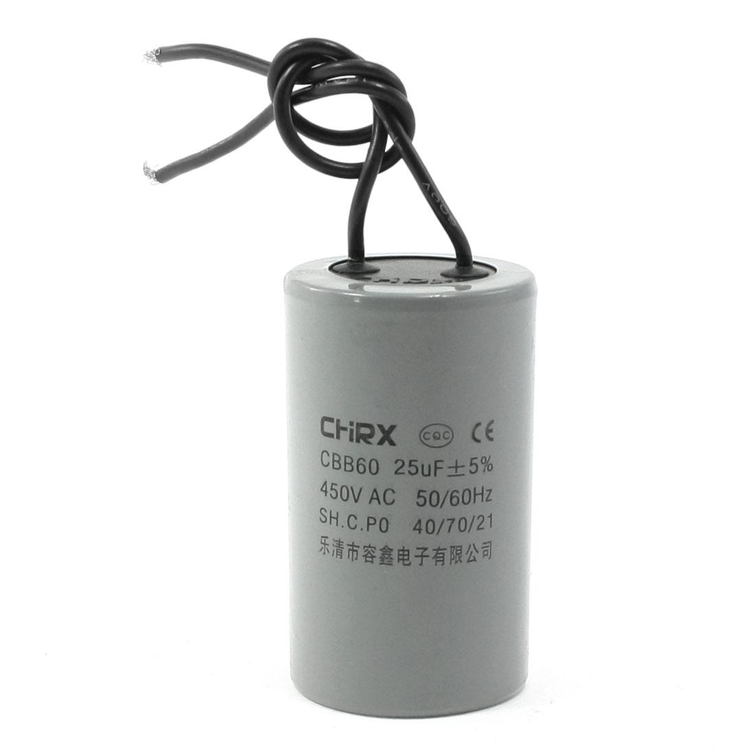 CBB60 AC 450V 25uF Polypropylene Film Motor Running Capacitor Gray