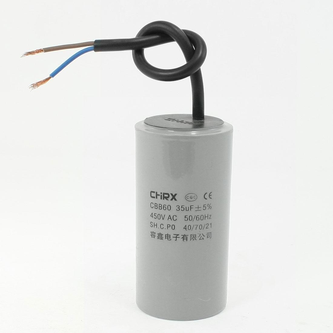CBB60 AC 450V 35uF Polypropylene Film Motor Running Capacitor Gray
