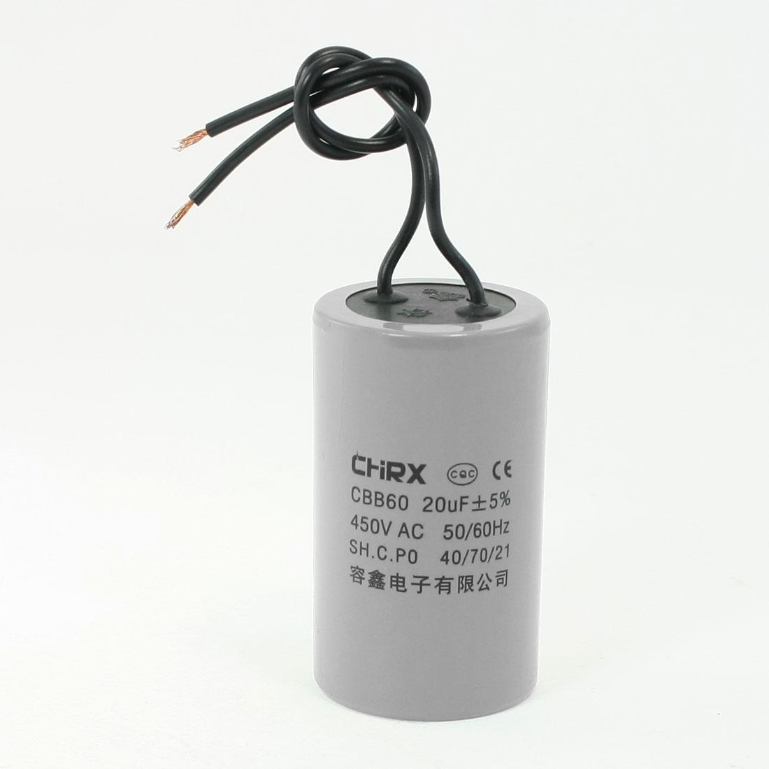 CBB60 AC 450V 20uF Polypropylene Film Motor Running Capacitor Gray