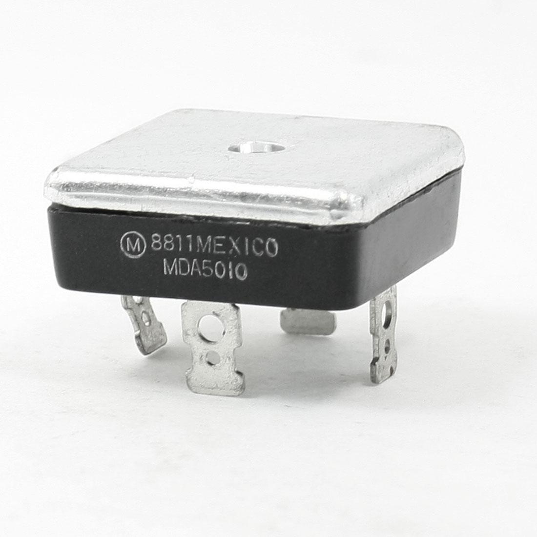 MDA5010 1KV 50A Single Phase Bridge Rectifier Half-Wave Silver Tone Black