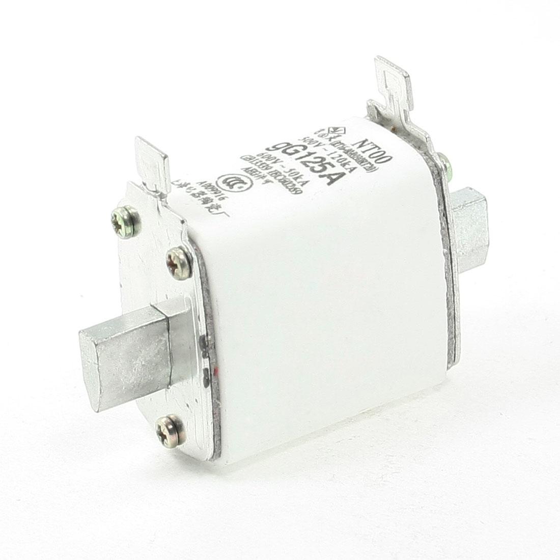 500V 120kA 660V 50kA gG 125A Contact Ceramic Fuse Link NT00