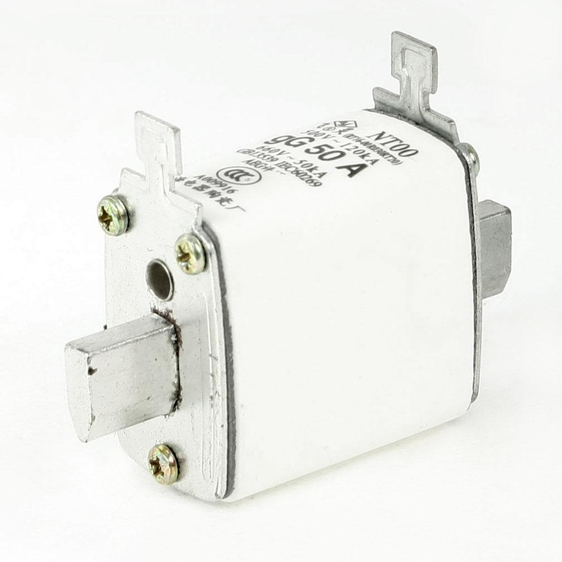 500V 120kA 660V 50kA gG 50A Contact Ceramic Fuse Link NT00