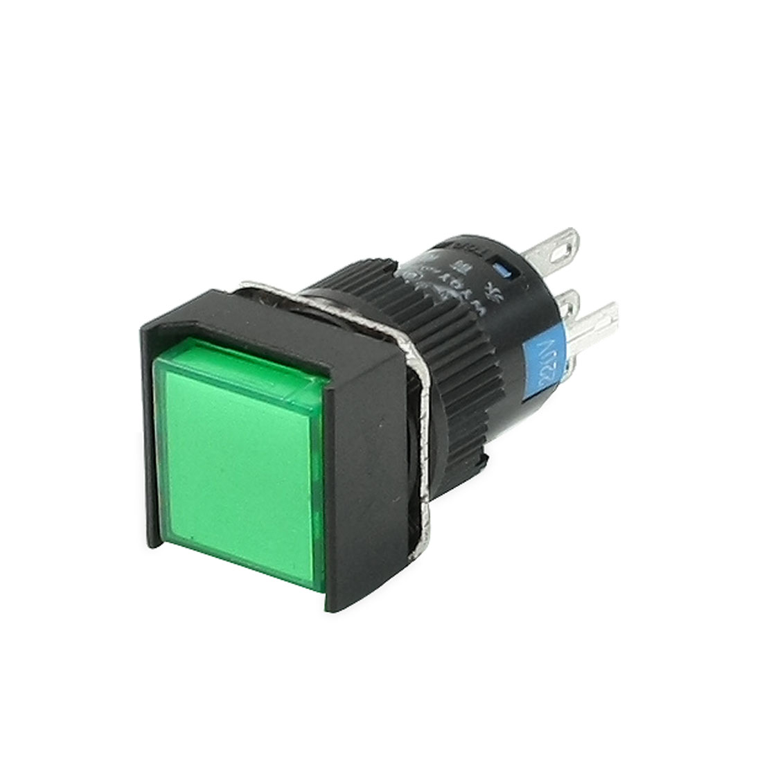 250VAC 5A SPDT 5 Pins Latching Green Square Push Button Switch w 220V LED Light