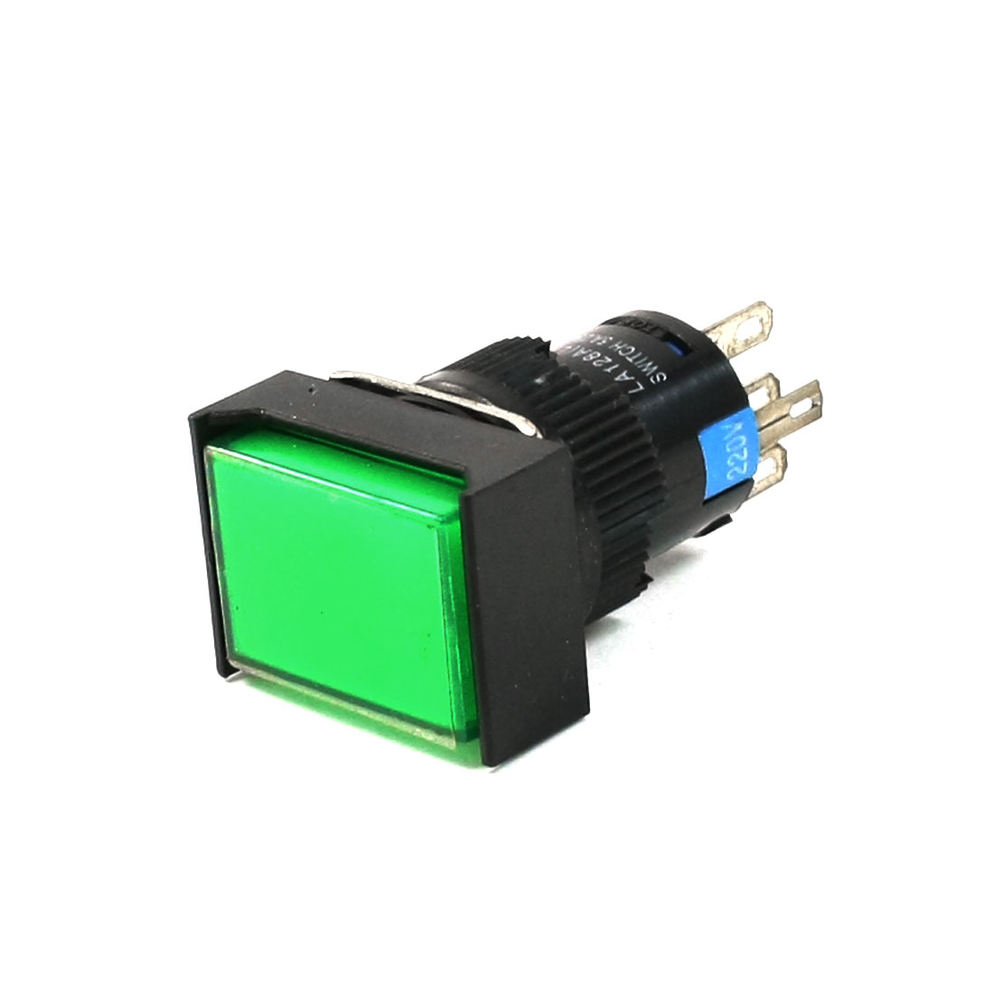 AC 220V LED Light SPDT 1NO 1NC 5-Pin Latching Green Rectangle Push Button Switch