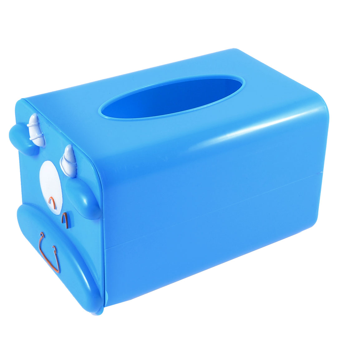 Household Cow Head Design Oval Hole Top Tissue Box Container Blue