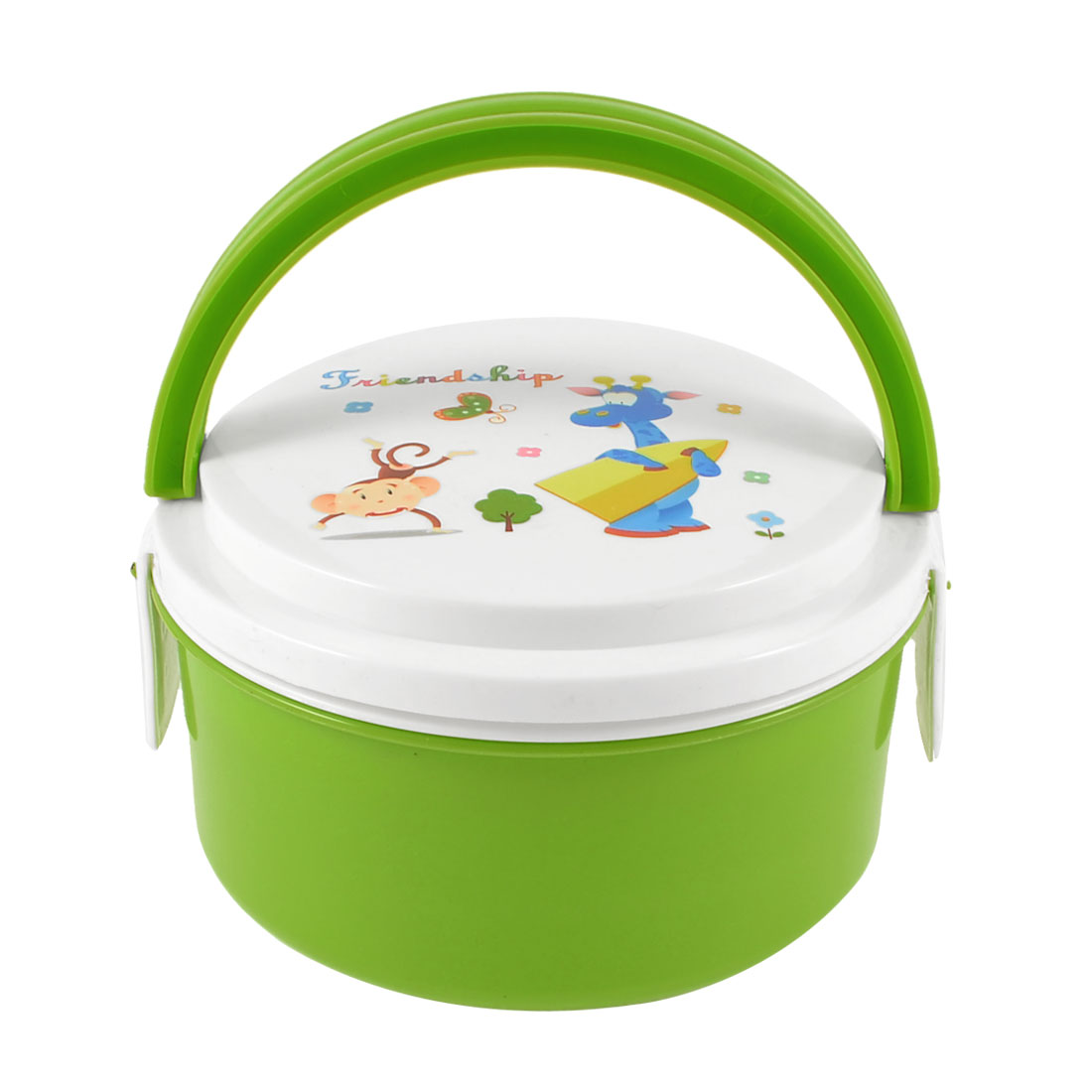 Home Kitchen Cartoon Giraffe Print 2 Layers Round Green White Lunch Box w Spoon