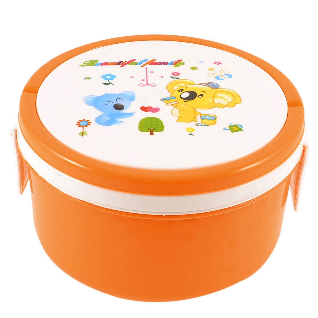 Students Cartoon Animal Printed Detachable Lid Lunch Box Case Orange White