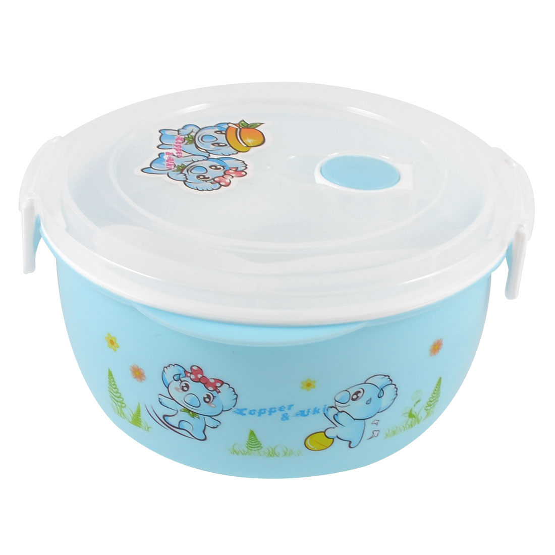 Household Cartoon Koala Printed 3 Compartments Light Blue Dinner Case Lunch Box