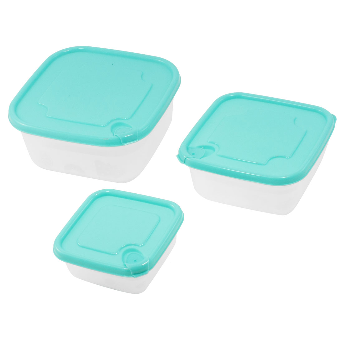 Kitchenware Cyan Clear Plastic Refreshing Airtight Case Crisper Set 3 in 1