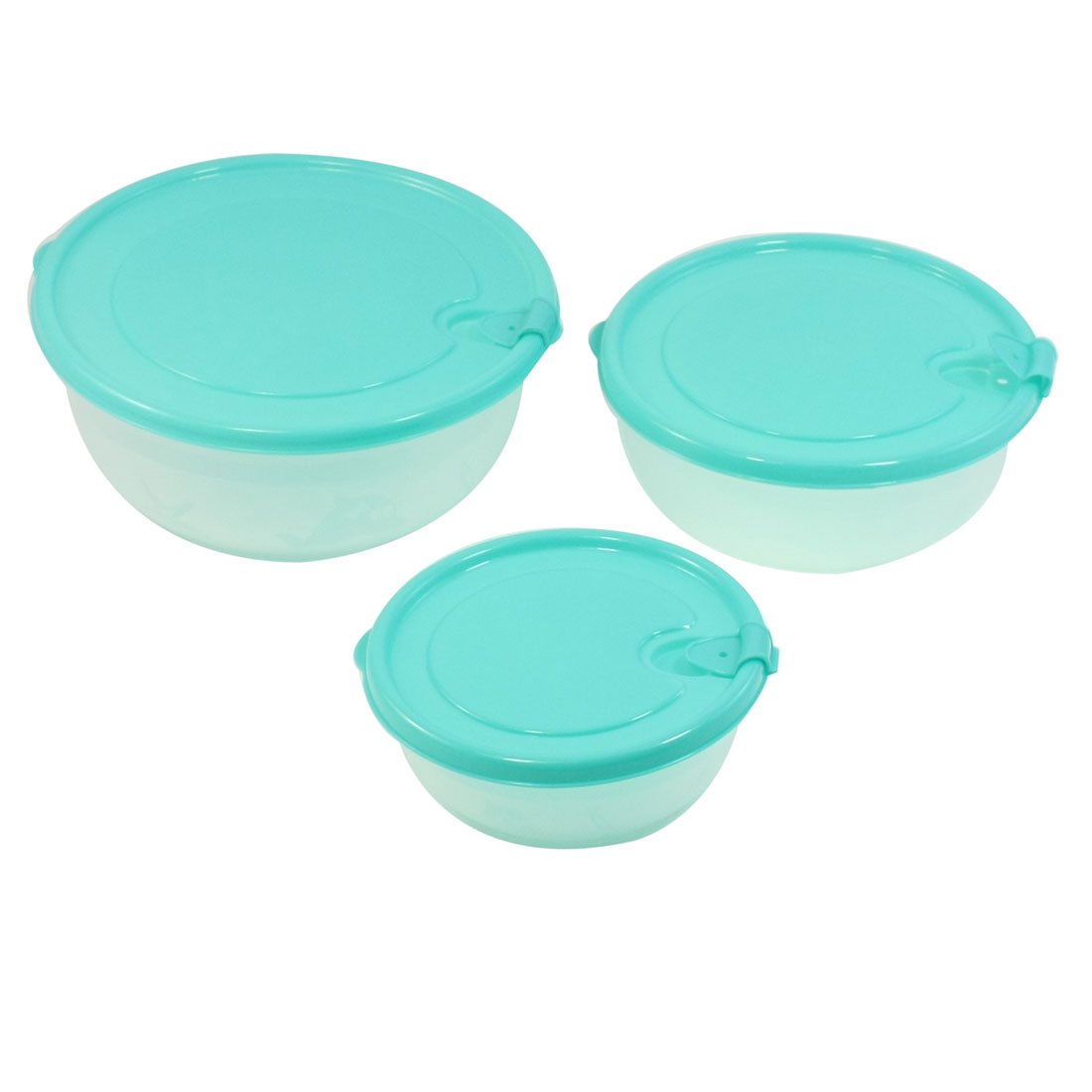 Camping Travel Flower Print Lid Clear Cyan Refreshing Case Crisper Set 3 Pcs