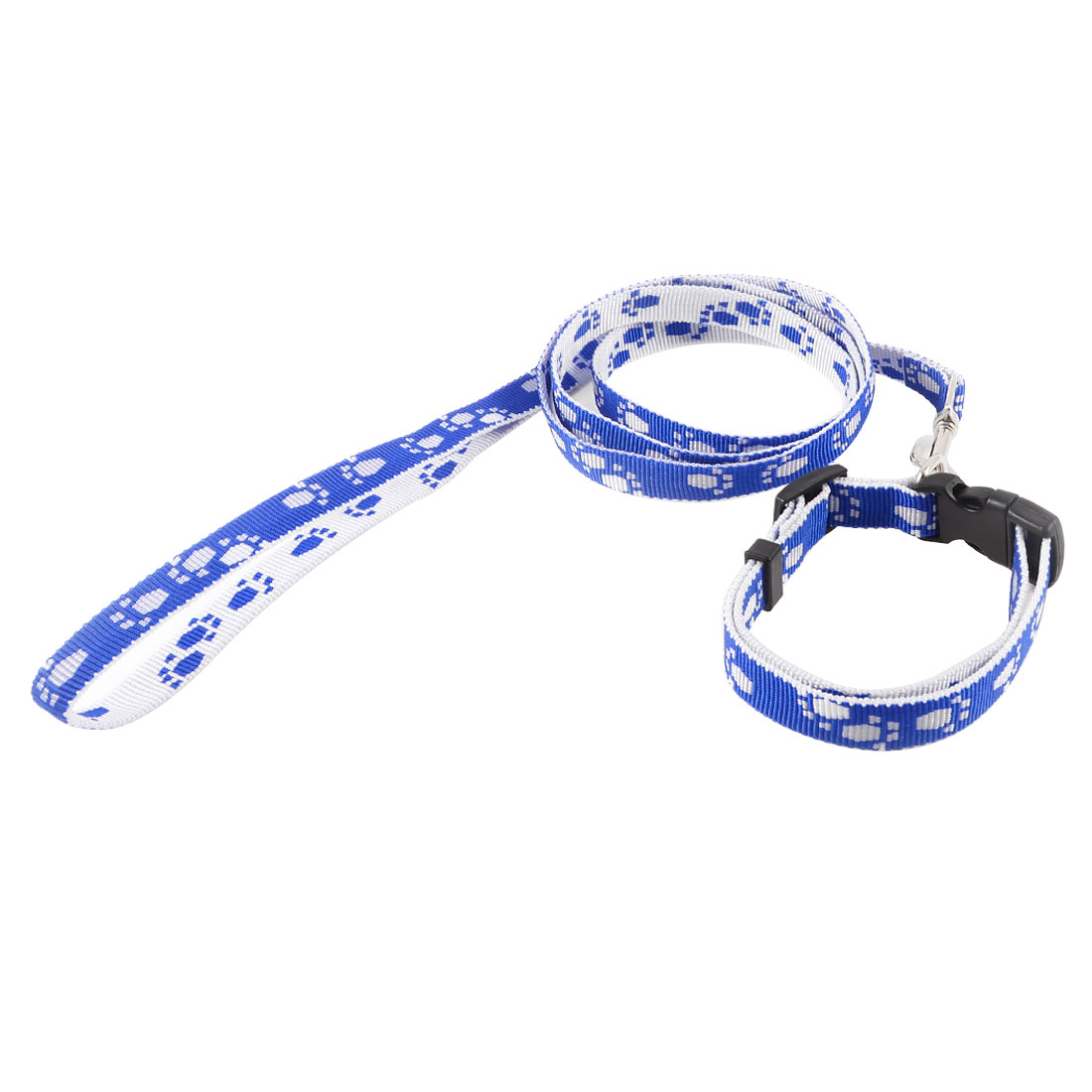Doggies Dog Textured Nylon Traction Strap Pulling Leash Lead Blue White