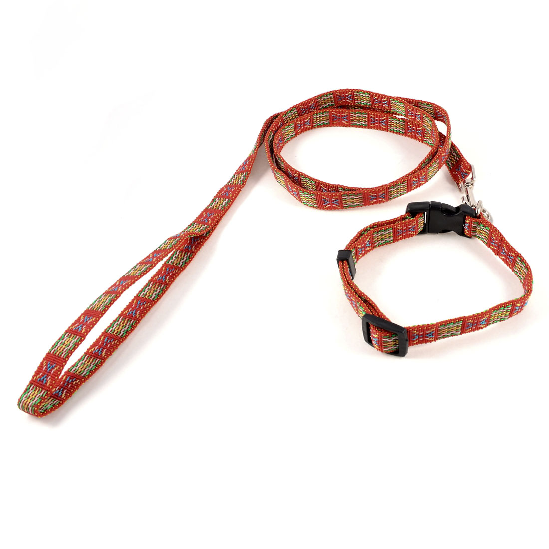 "Adjustable 0.6"" Width Strap Multicolored Dog Collar Halter Leash Lead"