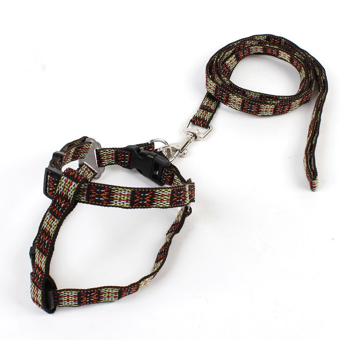 1.1M Long Lead Multicolored Doggie Dog Pet Collar Halter Harness Leash