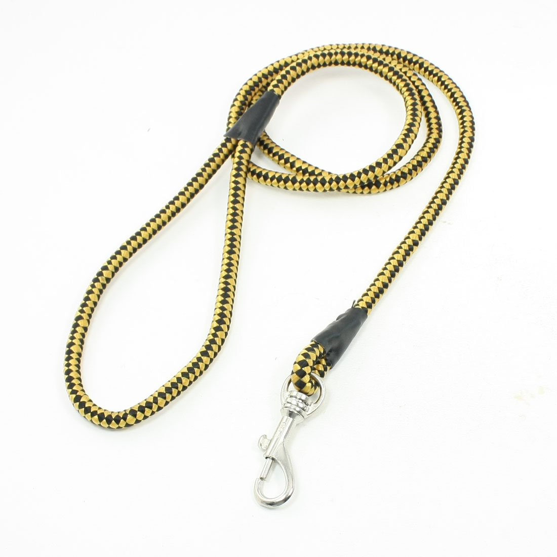 "Yellow Black Grid Pattern Braided Round Rope Swivel Dog Leash 0.3"" Diameter"