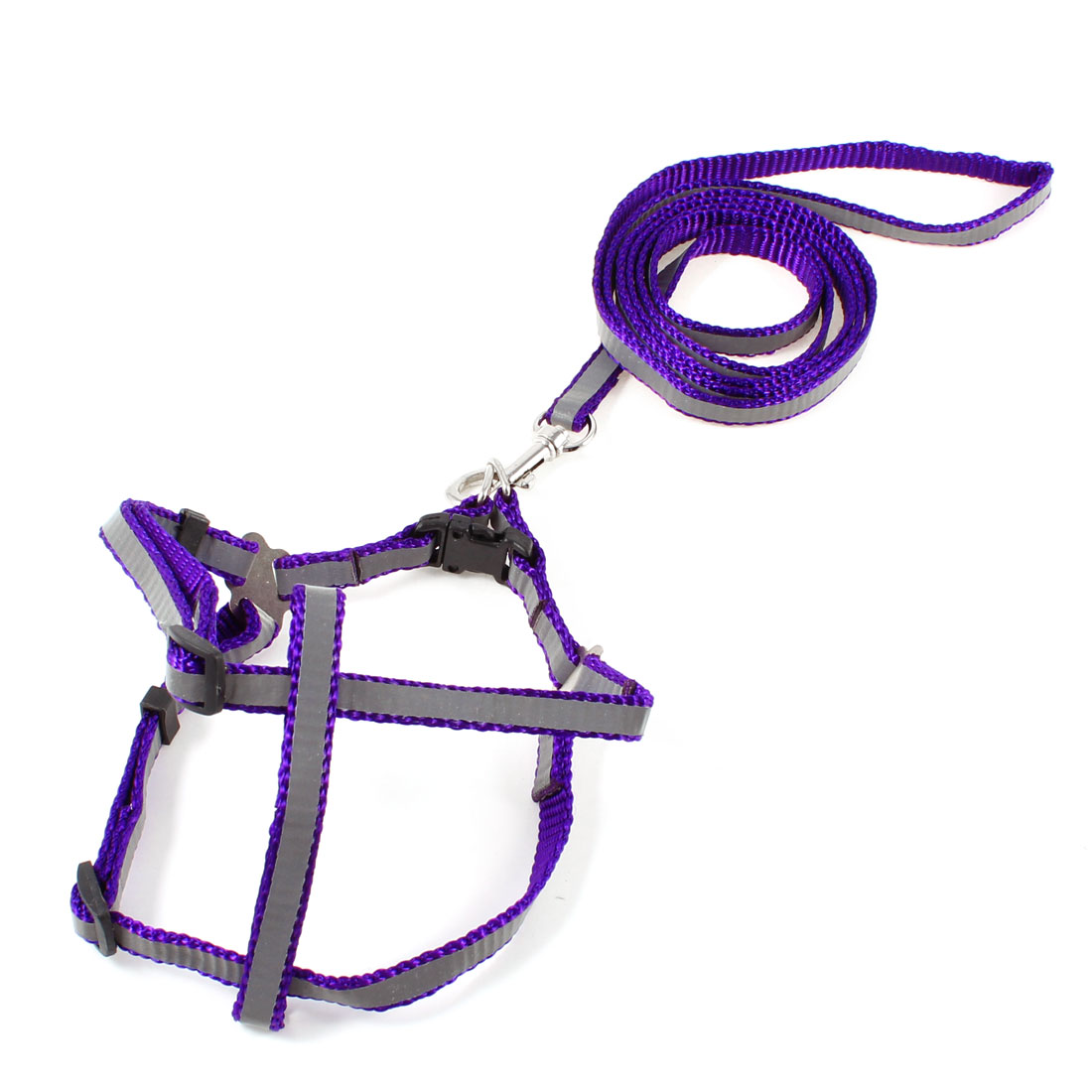 Purple Gray Adjustable Pet Dog Collar Halter Harness Leash w Swivel Clasp Hook