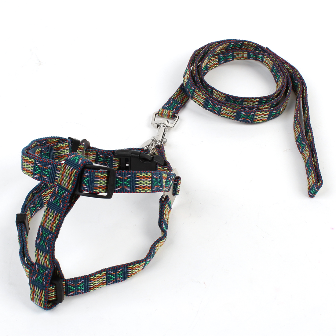 Adjustable Colorful Nylon Pet Dog Harness Leash Set w Swivel Clasp Hook