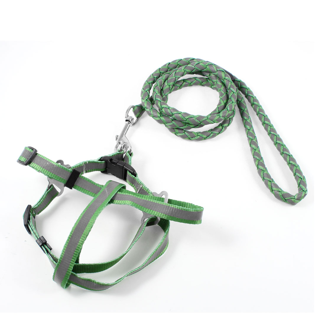 "0.4"" Dia Braided Nylon Rope Reflective Pet Dog Harness Leash Green Gray"