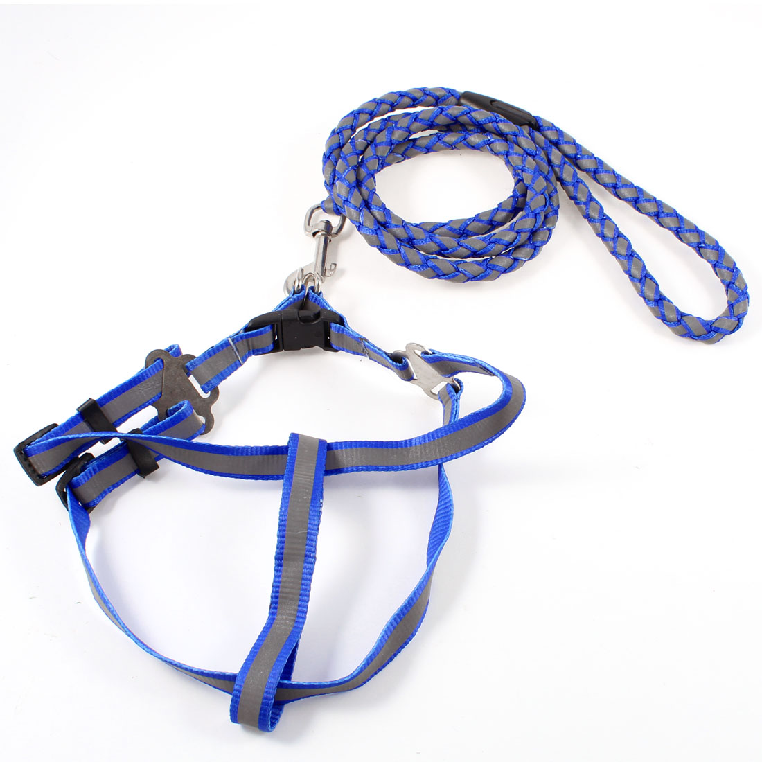 Nylon Round Rope Blue Gray Reflective Pet Dog Harness Leash w Swivel Clasp Hook
